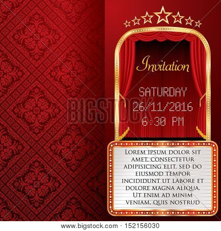 vector layout of invitation card with red stage curtain and white billboard, flyer background
