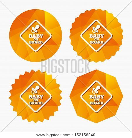Baby on board sign icon. Infant in car caution symbol. Baby pacifier nipple. Triangular low poly buttons with flat icon. Vector