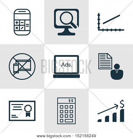 Set Of 9 Universal Editable Icons For Seo, Computer Hardware And Airport Topics. Includes Icons Such
