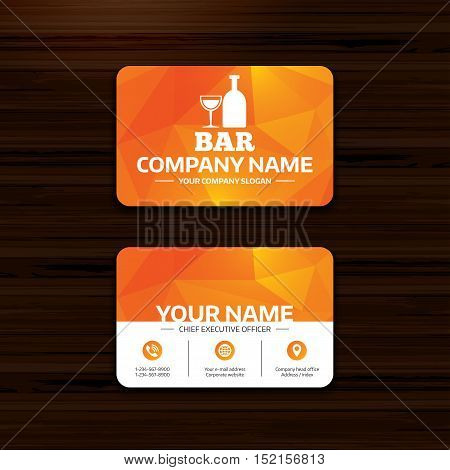 Business or visiting card template. Bar or Pub sign icon. Wine bottle and Glass symbol. Alcohol drink symbol. Phone, globe and pointer icons. Vector
