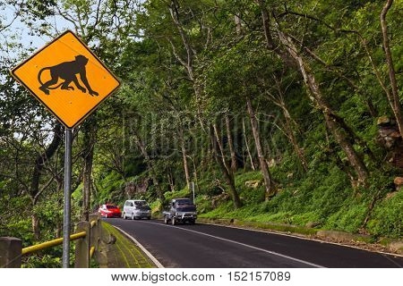 Monkey traffic sign in Bali Indonesia