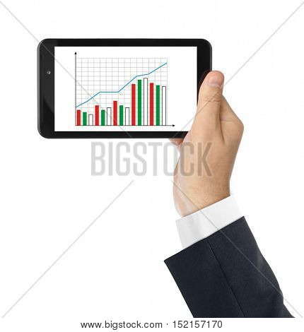 Hand with touchpad pc and business diagram isolated on white background