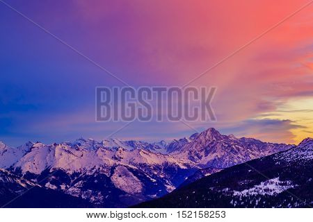 Swiss mountains at sunrise, Diableretes and Jungfrau - Swiss Alps, the region Vallis