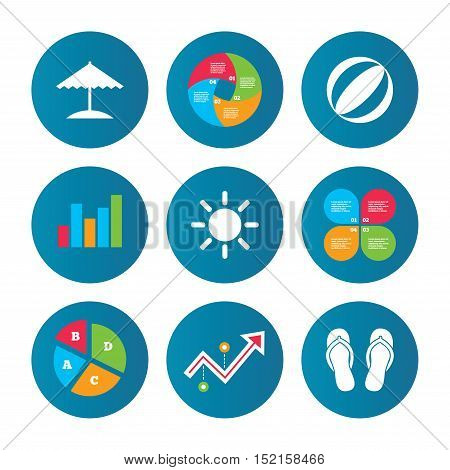 Business pie chart. Growth curve. Presentation buttons. Beach holidays icons. Ball, umbrella and flip-flops sandals signs. Summer sun symbol. Data analysis. Vector
