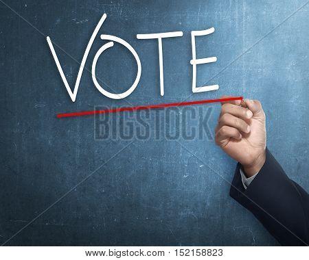 Handwriting Vote With Red Underline