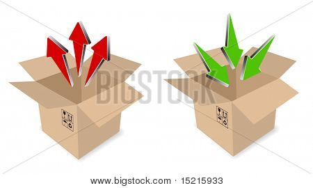 shipping box with arrows