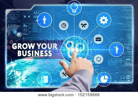Business, Technology, Internet And Network Concept. Young Businessman Working On A Virtual Screen: G