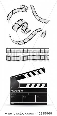 clapboard and film strip - vector set