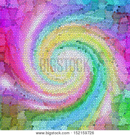 Abstract coloring background of the color harmonies gradient with visual mosaic,twirl and stained glass effects