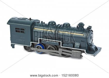 Toy locomotive isolated on white background