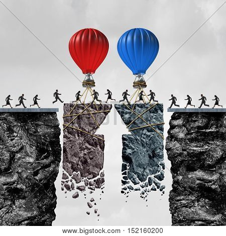 Business team coordination or political bipartisan support and group connection success as people connected by a limited time opportunity with balloons connecting a bridge for a successful exchange with 3D illustration elements.