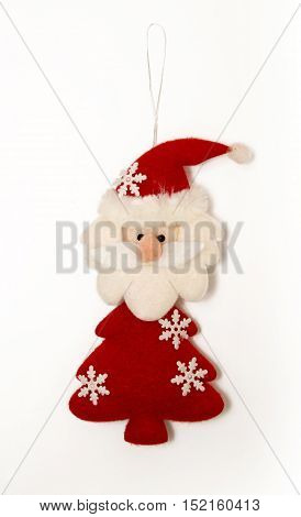 Santa Claus From Felt, Christmas Tree Decoration Isolated On White.