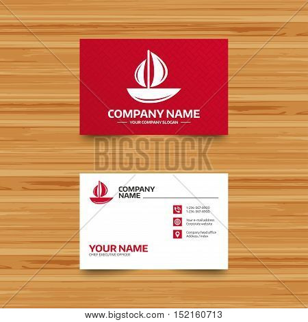 Business card template. Sail boat icon. Ship sign. Shipment delivery symbol. Phone, globe and pointer icons. Visiting card design. Vector