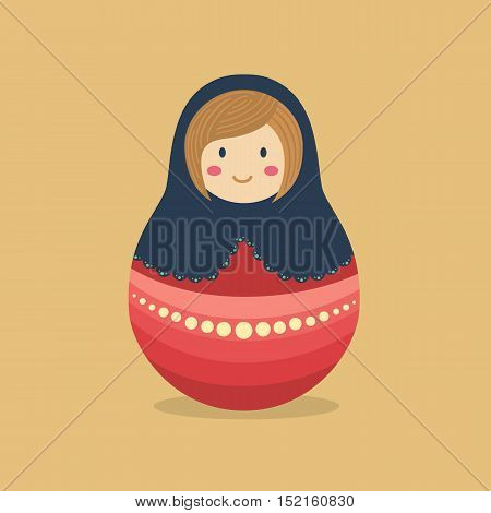 Cute Russian doll with blue hood and red costume on brown background.