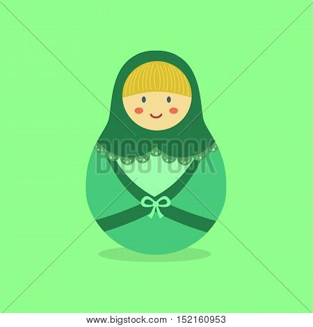 Cute Russian Doll with Green hood and costume on green background.