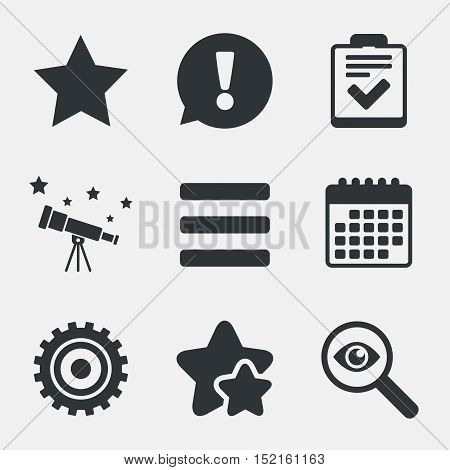 Star favorite and menu list icons. Checklist and cogwheel gear sign symbols. Attention, investigate and stars icons. Telescope and calendar signs. Vector