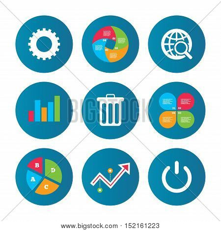 Business pie chart. Growth curve. Presentation buttons. Globe magnifier glass and cogwheel gear icons. Recycle bin delete and power sign symbols. Data analysis. Vector