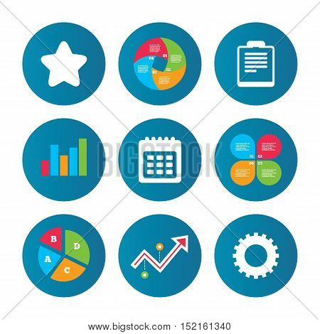 Business pie chart. Growth curve. Presentation buttons. Calendar and Star favorite icons. Checklist and cogwheel gear sign symbols. Data analysis. Vector