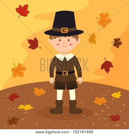 Thanksgiving greeting card with a pilgrim boy on autumn background vector illustration