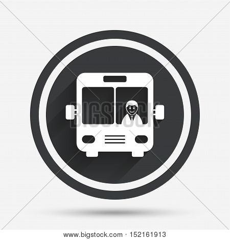 Bus sign icon. Public transport with driver symbol. Circle flat button with shadow and border. Vector