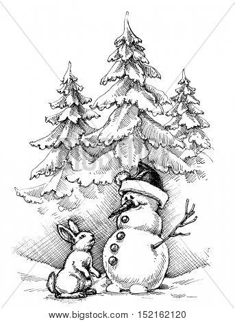 Christmas funny scene, winter landscape. This rabbit really wants snowman's carrot nose
