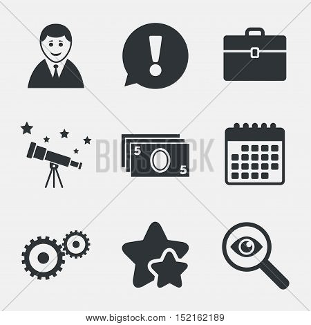 Businessman icons. Human silhouette and cash money signs. Case and gear symbols. Attention, investigate and stars icons. Telescope and calendar signs. Vector
