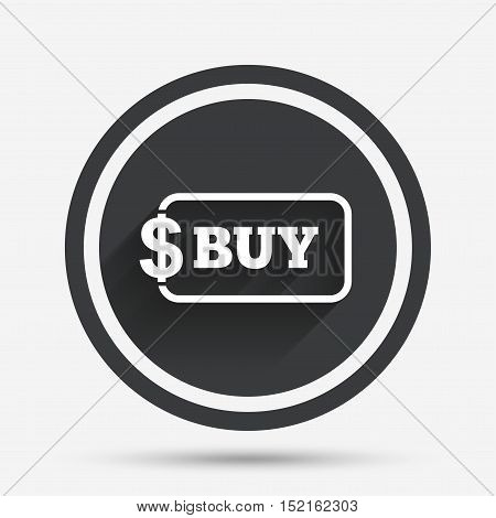 Buy sign icon. Online buying dollar usd button. Circle flat button with shadow and border. Vector