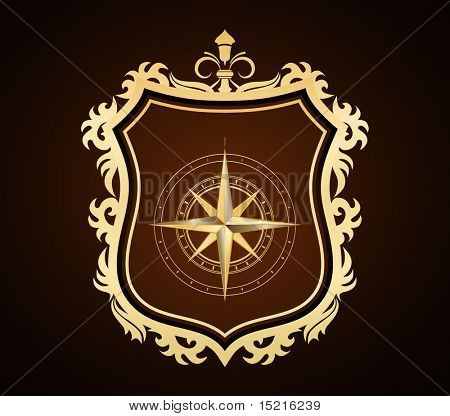 golden shield with compass rose