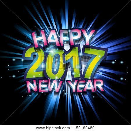 2017 Happy New Year Club Party Background for your Seasonal Dance Event and Discoteque Poster or Christmas Related music fest.