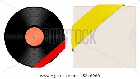 vinyl with cover and ribbon