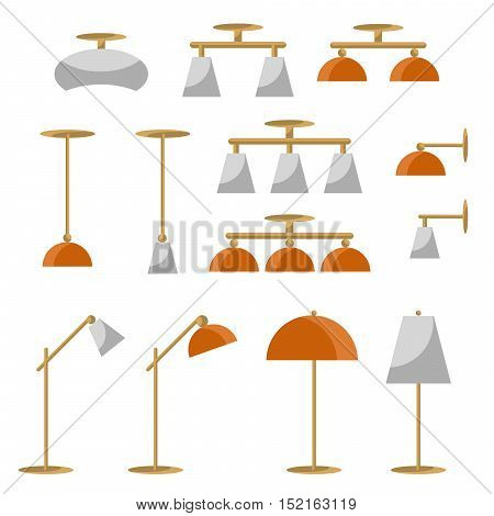 Interior lamp vector icon set. Modern ceiling, torchere, sconce and desk lamps, flat style isolated illustration.
