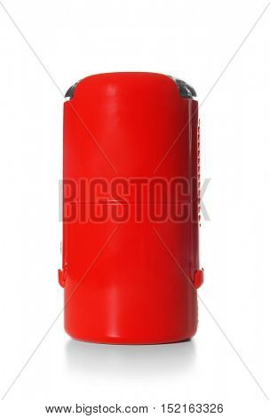 Self-inking red stamp on white background