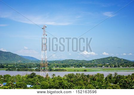 telecommunication tower middle of mountain background telecommunication tower middle of mountain background blue sky