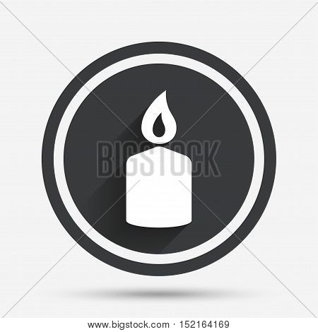 Candle sign icon. Fire symbol. Circle flat button with shadow and border. Vector