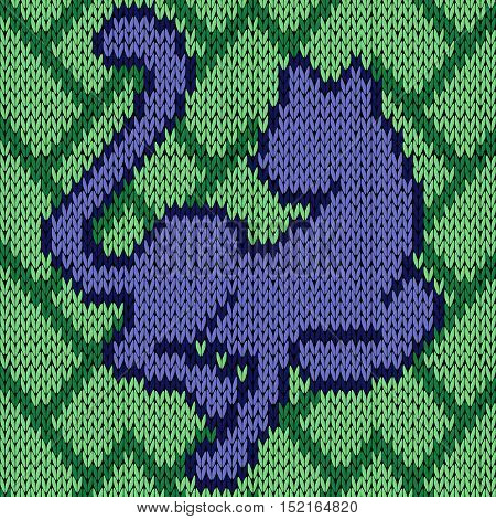 Knitting Seamless Pattern With Blue Cat Over Green