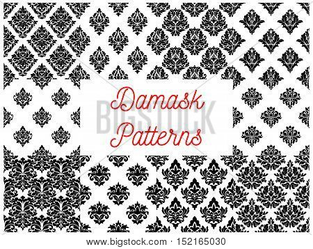 Black and white damask seamless patterns with medieval victorian floral motif of lush curly flowers and leaves. Wallpaper or fabric print design
