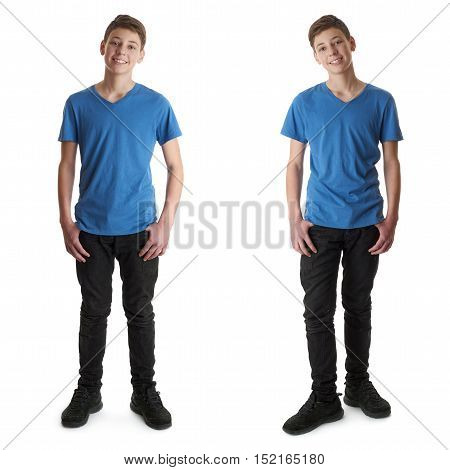 Cute teenager boy in blue T-shirt standing over white isolated background full body