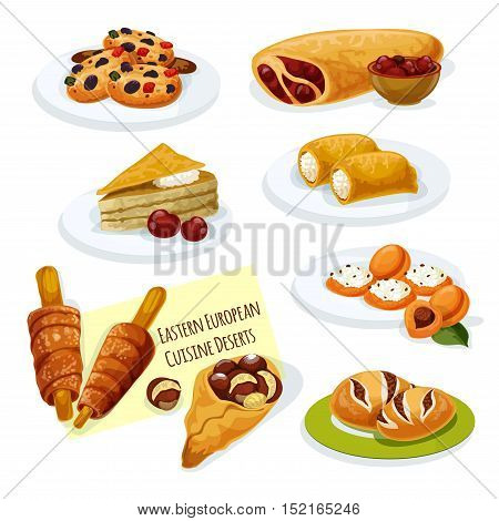 Eastern european cuisine desserts cartoon icon with cherry strudel, caramel cake, pancake stuffed cottage cheese, poppy seeds bun, cookie with nuts, apricot topped with cheese, spit cake, chestnut