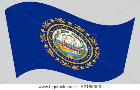 New Hampshirite official flag symbol. American patriotic element. USA banner. United States of America background. Flag of the US state of New Hampshire waving on gray background vector