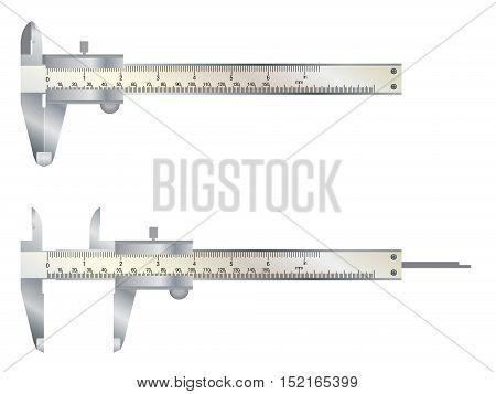 Vernier caliper tool isolated on white background.