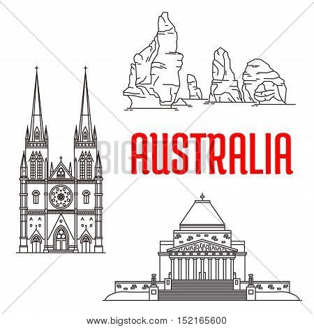 Travel landmarks of Australia icon with thin line gothic St Mary Cathedral, The Twelve Apostles of Port Campbell National Park and War Memorial. Travel and tourism themes design