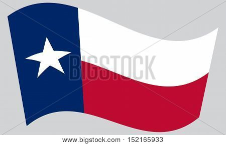 Texan official flag symbol. American patriotic element. USA banner. United States of America background. Flag of the US state of Texas waving on gray background vector