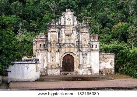 Antigua, Guatemala - June 16, 2011: Antigua guatemala church ruins, La Ermita de la Santa Cruz ruins. Editorial use only.