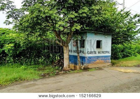 La maquina, Guatemala - June 16, 2011: Rustic police station on a back dirt road in La maquina, Guatemala. Editorial use only.