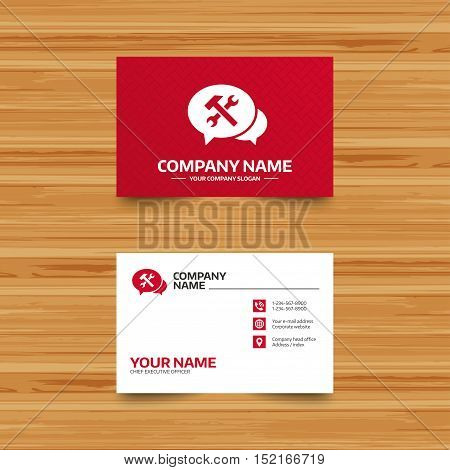 Business card template. Speech bubble repair tool sign icon. Service symbol. Hammer with wrench. Phone, globe and pointer icons. Visiting card design. Vector