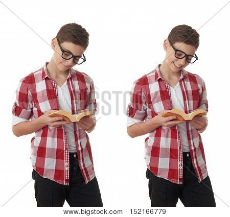 Set of cute teenager boy in red checkered shirt, glasses and a book over white isolated background, half body, reading concept