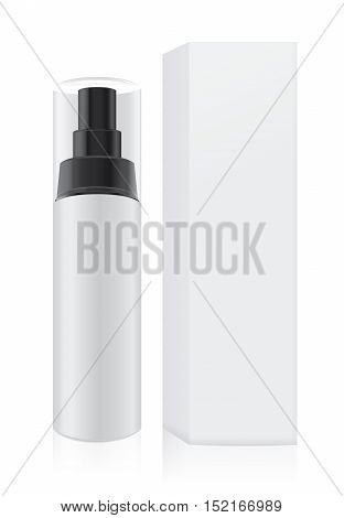White cream bottle not have label which have black pump transparency lid and tall white paper box is collection for cosmetic packaging mock up.