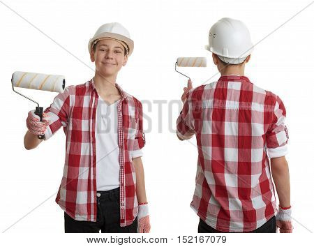 Set of cute teenager boy in red checkered shirt, building helmet and paint roller over white isolated background, half body, constructing concept