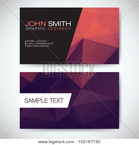 Purple and Orange Modern Business Card Set   EPS10 Vector Design
