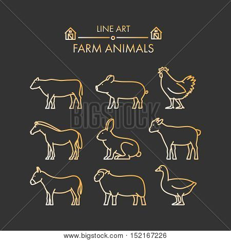 Gold line icon set of farm animals. Vector cow pig chicken horse rabbit and goat